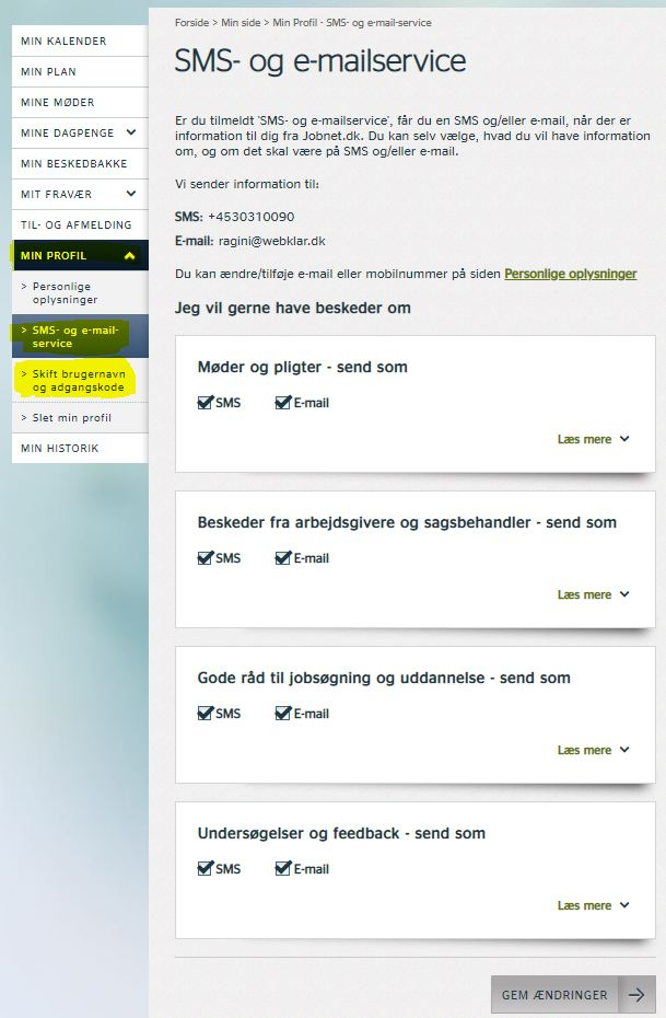 SMS-service Jobnet